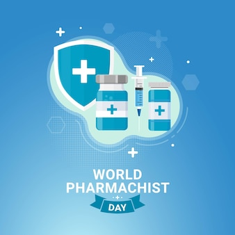 Ilustracja wektorowa świętowania transparentu światowego dnia farmaceuty