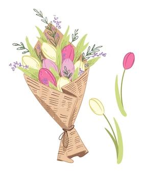 Ilustracja wektorowa świeżego wiosennego bukietu kwiatów tulipanów, owiniętego papierem rzemieślniczym