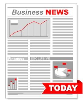 Ilustracja wektorowa świeżej gazety biznesowej z różnymi diagramami