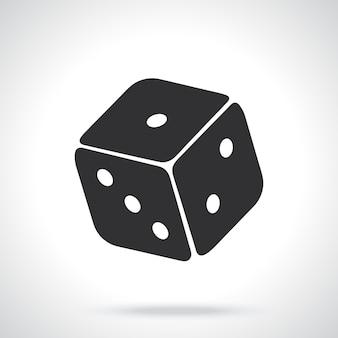 Ilustracja wektorowa sylwetka jednej kości kasyna symbol gry hazardowej
