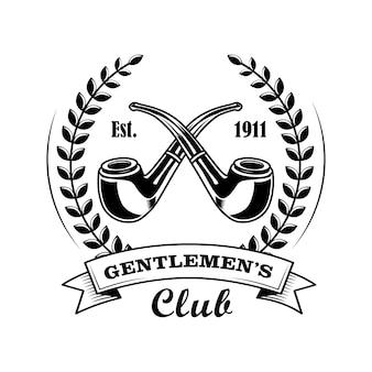 Ilustracja wektorowa symbol klubu dżentelmen. skrzyżowane rury, wieniec laurowy, tekst. koncepcja sklepu tytoniowego dla szablonów etykiet lub odznak