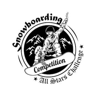 Ilustracja wektorowa symbol zawodów snowboardowych. szkielet w kasku deskorolka z tekstem. koncepcja aktywności i sportu zimowego dla szablonów emblematów mistrzostw