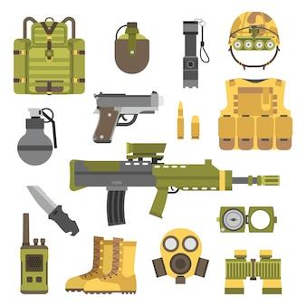 Ilustracja wektorowa symbole broni wojskowej broni