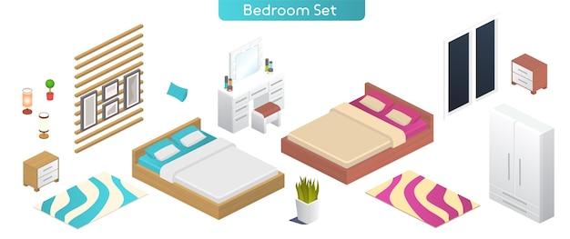 Ilustracja wektorowa sypialni zestaw mebli nowoczesnych wnętrz. widok izometryczny podwójnego łóżka, szafy, stolika nocnego, lampy, toaletki, okna, rośliny doniczkowej, obrazów, przedmiotów dekoracyjnych na białym tle