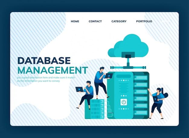Ilustracja wektorowa systemu zarządzania bazą danych do przechowywania danych