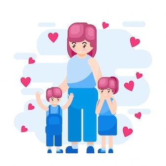 Ilustracja wektorowa szczęśliwa matka dzień rodzic