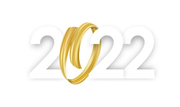Ilustracja wektorowa: szczęśliwego nowego roku 2022. liczby z abstrakcyjną złotą farbą pociągnięcia pędzla