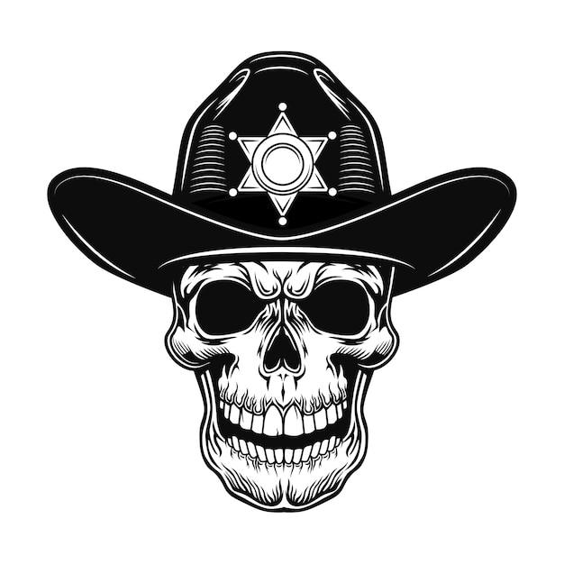 Ilustracja wektorowa szeryfa czaszki. szef policjanta w kapeluszu z gwiazdą