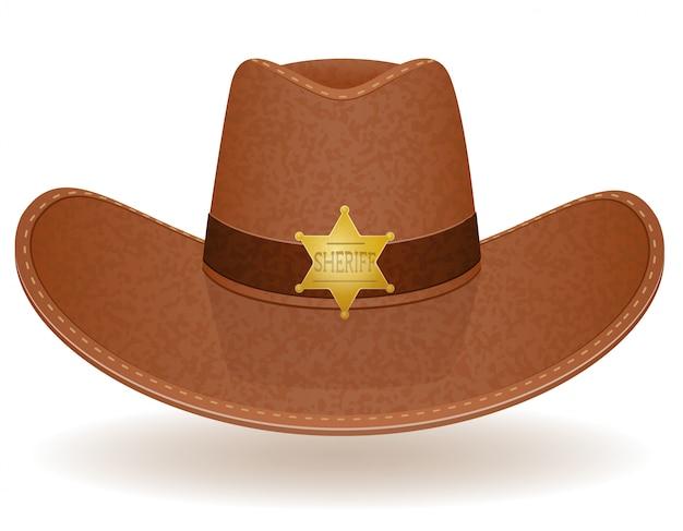 Ilustracja wektorowa szeryfa kowbojski kapelusz