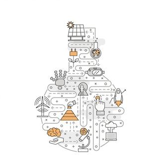 Ilustracja wektorowa sztuki cienka linia innowacji