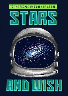 Ilustracja wektorowa sztuki pikseli hełmu astronauty w przestrzeni z gwiazdami i galaktyką.