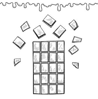 Ilustracja wektorowa tabliczki czekolady i krople czekolady na białym tle w stylu rysowania dłoni
