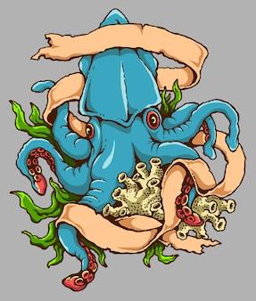 Ilustracja wektorowa tatuażu ośmiornicy