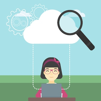 Ilustracja wektorowa technologii cloud computing.