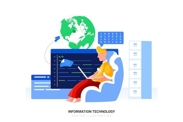 Ilustracja wektorowa technologii informatycznych