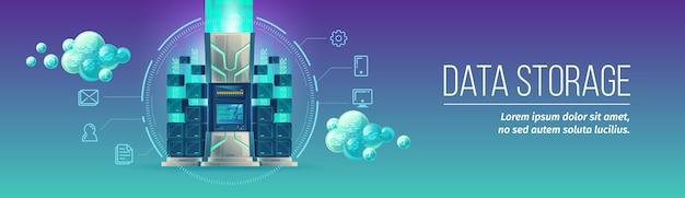 Ilustracja wektorowa technologii przechowywania danych