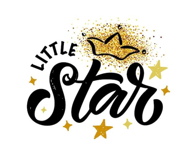 Ilustracja wektorowa tekstu little star dla dziewczynek ubrania super star odznaka ikona tagu tshirt