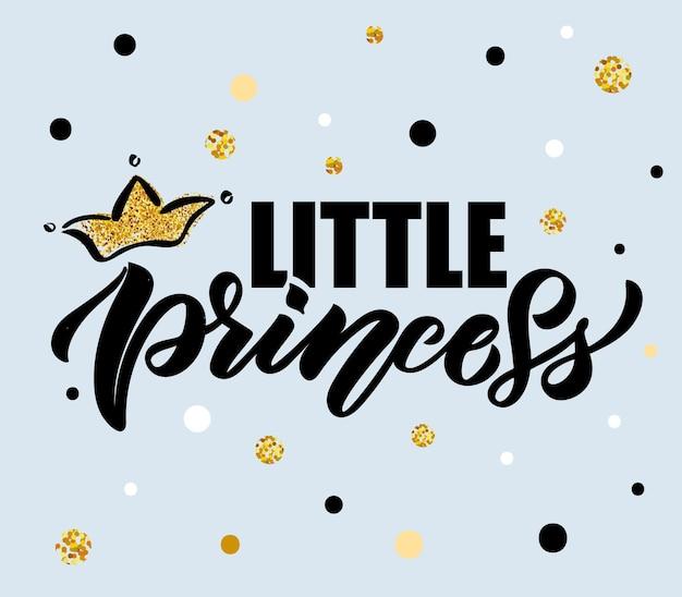 Ilustracja wektorowa tekstu małej księżniczki dla dziewczynek ubrania księżniczka znaczek ikona tshirt