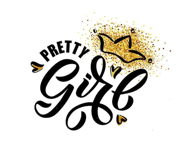 Ilustracja wektorowa tekstu pretty girl dla dziewczynek ubrania daddys girl odznaka ikona tagu design