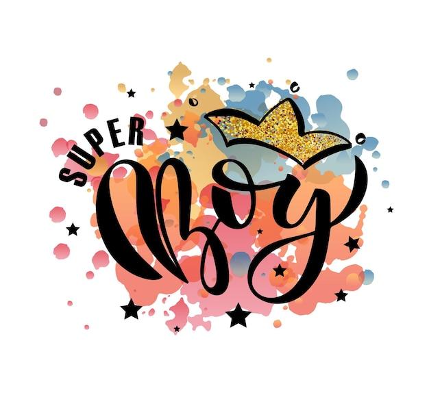 Ilustracja wektorowa tekstu super boy dla chłopców ubrania super boy odznaka tag lub ikona eps 10