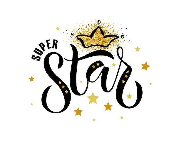 Ilustracja wektorowa tekstu super star na ubrania dla chłopców i dziewcząt odznaka super star