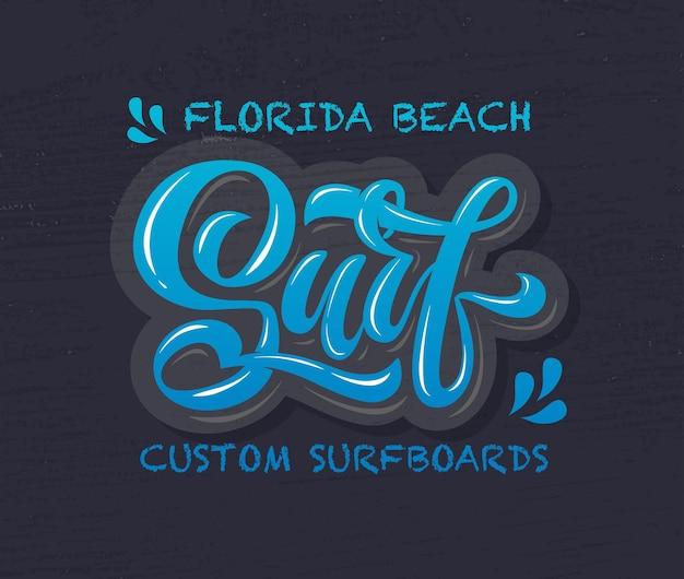 Ilustracja wektorowa tekstu surfowania do projektowania ubrań ikona tagu odznaka surfowania surf karty banner eps 10
