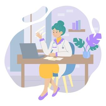 Ilustracja wektorowa terapeutki dziewczyna siedzi w swoim gabinecie w recepcji pacjentów