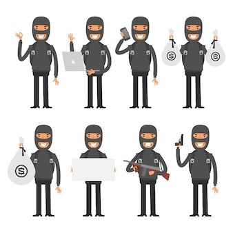 Ilustracja wektorowa, terrorysta w różnych pozach, format eps 10