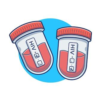 Ilustracja wektorowa test hiv płynny krew