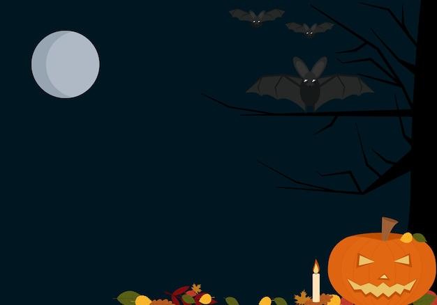 Ilustracja wektorowa tła ulotki na świąteczne halloween z dyniami, nietoperzami i księżycem