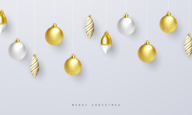 Ilustracja wektorowa tła uroczystości bożego narodzenia ze złotą piłkę boże narodzenie ekstrawaganckie na kartkę z życzeniami.