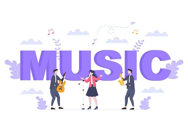 Ilustracja wektorowa tło festiwalu muzycznego z instrumentami muzycznymi i występem na żywo na plakat, baner lub szablon broszury