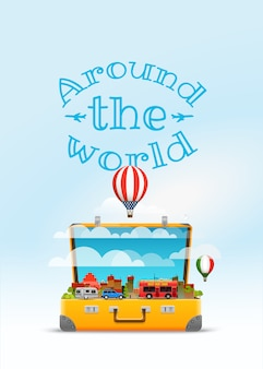 Ilustracja wektorowa torba podróżna. dookoła świata