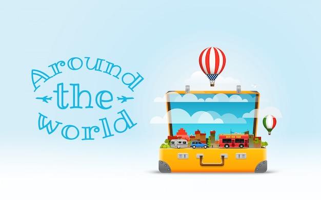 Ilustracja wektorowa torba podróżna. koncepcja projektu wakacje