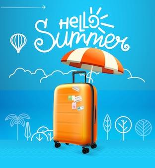 Ilustracja wektorowa torba podróżna. koncepcja wakacje