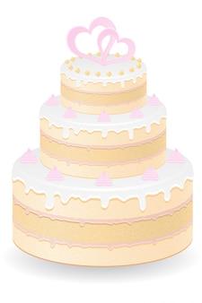 Ilustracja wektorowa tort weselny