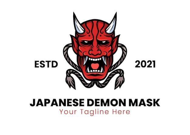 Ilustracja wektorowa tradycyjnej japońskiej maski demona