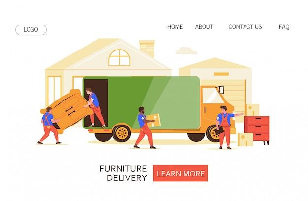 Ilustracja wektorowa transportu mebli na stronie internetowej.