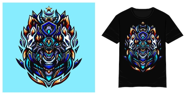 Ilustracja wektorowa tshirt niebieski wilk
