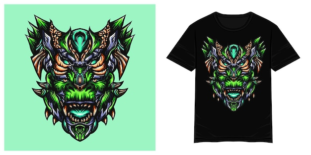Ilustracja wektorowa tshirt potwora zilla