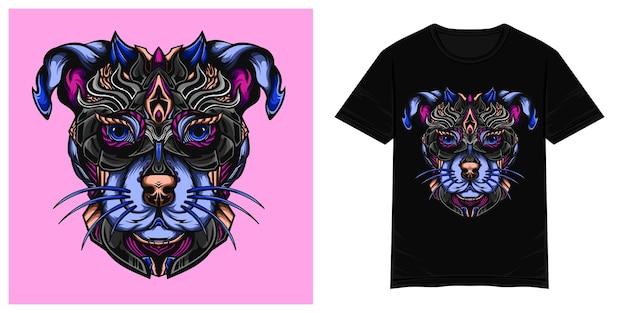 Ilustracja wektorowa tshirt psa wojownika