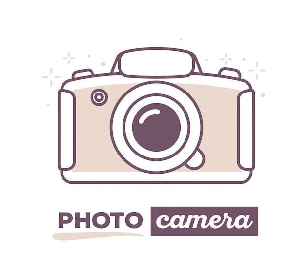 Ilustracja wektorowa twórczego aparatu fotograficznego z tekstem na białym tle.
