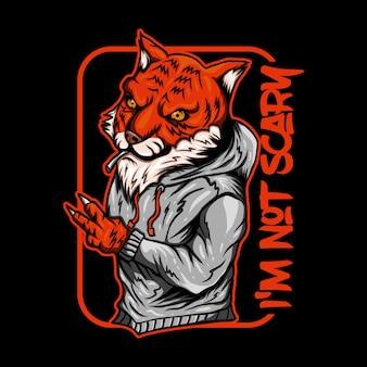 Ilustracja wektorowa tygrys dym