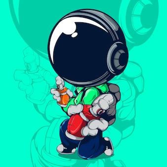 Ilustracja wektorowa ulicznego artysty z kaskiem astronauta