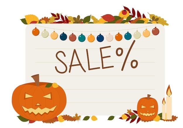 Ilustracja wektorowa ulotki na obchody halloween. ze świeczkami dyniowymi i sprzedażą tekstową