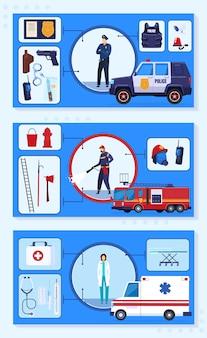 Ilustracja wektorowa usługi ochrony awaryjnej. kolekcja transparentów płaskich infografik z kreskówek z ratownikami, lekarzami strażakami policyjnymi i medycznym, ochronnym sprzętem ratowniczym