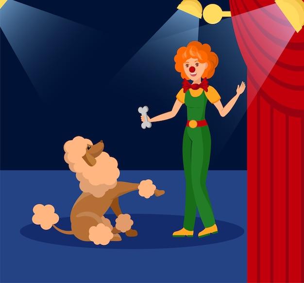 Ilustracja wektorowa uśmiechający się klaun i mały pies