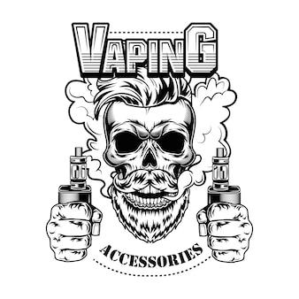 Ilustracja wektorowa vaping akcesoria. modna hipsterska brodata czaszka z elektronicznymi papierosami i parą