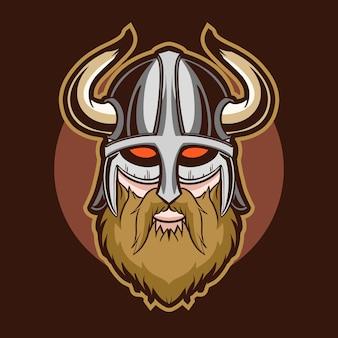 Ilustracja wektorowa viking head czerwone oczy
