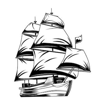 Ilustracja wektorowa vintage żaglowiec. klasyczna żaglówka monochromatyczna.